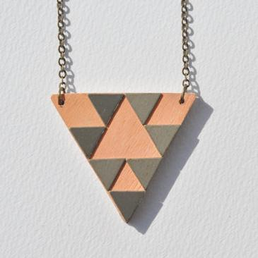 Brass & wood triangle pattern necklace, $20