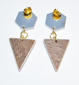Hexagon & triangle earrings: frosted mirror & wood, $20