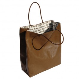 large leather brown paper bag