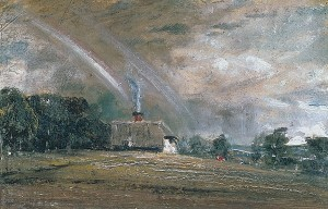 Constable Landscape Study with a Cottage and a Rainbow