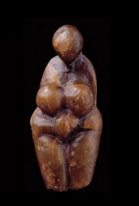 Female figure sculpted from steatite, found at Grimaldi, Italy.
