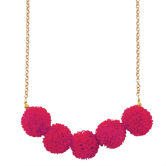 PinkWirePomPomNecklace
