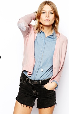 ASOS cardigan with lace heart elbow patch
