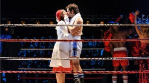 Andy Karl and Margot Seibert as Rocky and Adrian after the final match