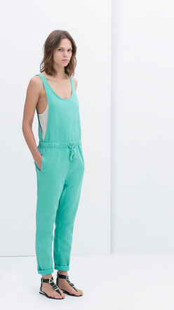 Aqua dungarees with drawstring waist from Zara