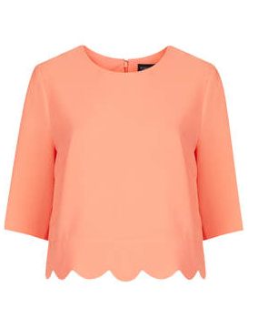 Scallop hem textured tee in apricot from Topshop