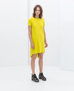 Short sleeve dress in lime from Zara