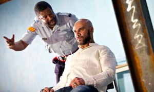 Brian Bovell (Marcus) and Goldie (Joker) in Kingston 14 at Theatre Royal Stratford East