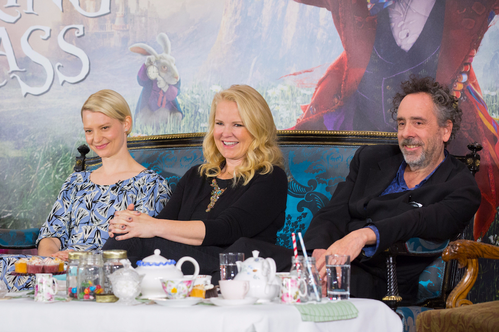 """London UK : Mia Wasikowska, Suzanne Todd and Tim Burton at the press conference in London of Disney's """"Alice Through The Looking Glass"""" on Sunday, May 8. (Credit : James Gillham / StingMedia for Disney)"""